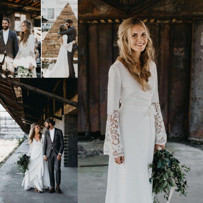 Discount Vintage Hippie Wedding Dresses Country Crochet Lace A Line  Bohemian V Neck Long Sleeve Elegant 2017 Bridal Gowns Plus Size Vestido De  Noiva Simple ... c39c06d5bb89