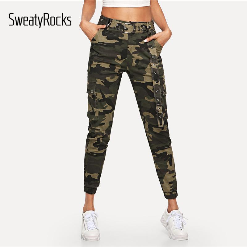 3141148318187 2019 SweatyRocks Women Mid Waist Camouflage Pants Fashion Capri Trouser  Ankle Length Sweatpants Streetwear Camo Pocket Belted Pants From Sugarlive,  ...