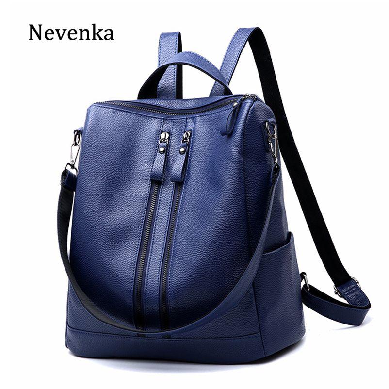 2cbb59a73d 2019 Fashion Nevenka Blue Backpack Women Leather Backpacks Travel Female  Anti Theft Backpacks For Teenager Girls School Bag For Women 2018 Cheap  Backpacks ...