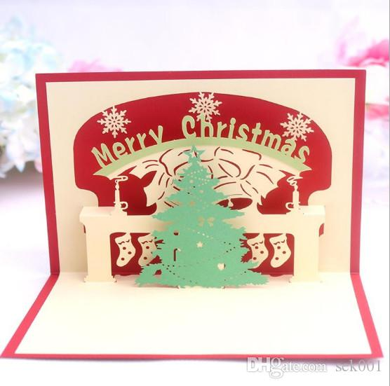 Handmade 3D Pop UP Christmas Tree Greeting Cards For Birthday Party Gift Birthdays From Sek001 218