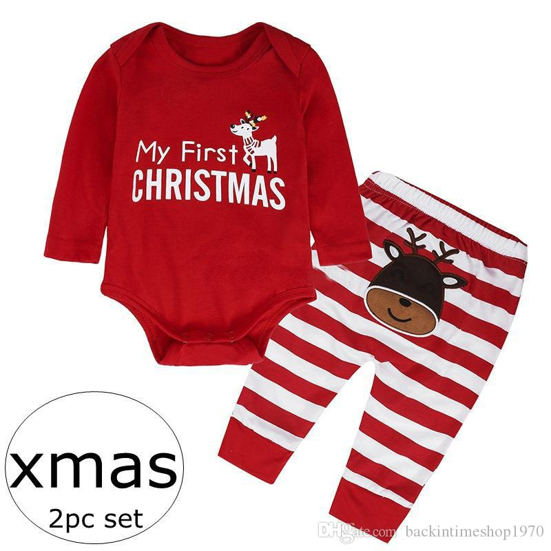 2018 my first christmas ins xmas letter print infant red cotton rompers pajamas baby red white striped pants deer print pp pants 0 2years from