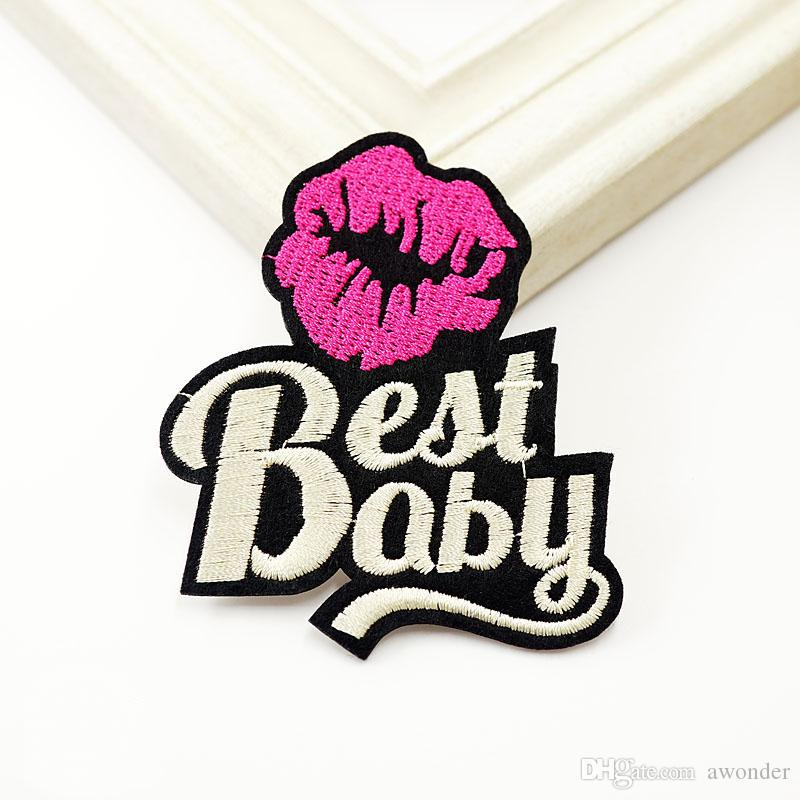 Best Baby Embroidery Patches Sexy Lips Sew Iron On Applique Patch Hippie POP Art Badges Clothes Jeans Accessories Hat Stickers