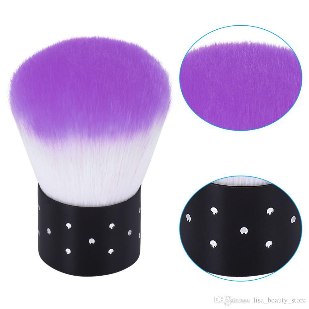 3 unids / set herramientas de uñas cepillo para acrílico gel ultravioleta arte del clavo polvo limpio cepillo manicura pedicura herramienta rosa azul púrpura amarillo rosa roja