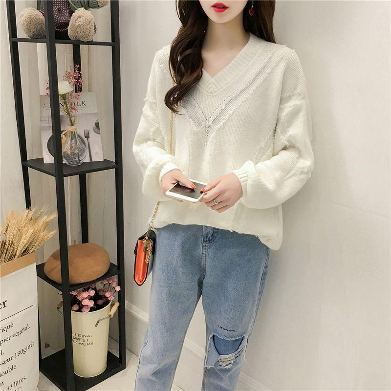 40ef2faf75 Loose Korean V-neck Sweater Female Autumn New Women s Solid Color ...