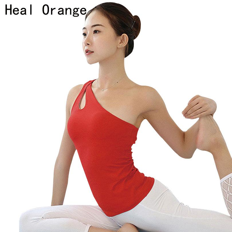 f4e5ce4e732c53 2019 HEAL ORANGE Sexy One Shoulder Women Shirt Yoga Top Running Shirt  Fitness Tops Sports Gym Tank Top Sportswear Workout Clothing From Shinny33
