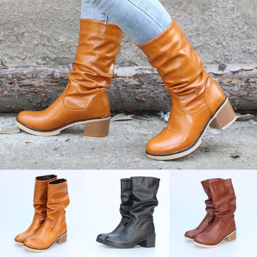 3f487d8145fc2 Women Retro Low Heel Boots Women Warm Casual Boots Thick Heel Shoes Middle  High Slip On Winter Shoes Shoe Sale Pumps Shoes From Memebiu, $66.45|  DHgate.Com