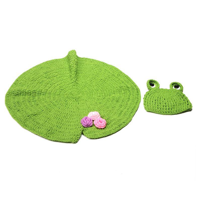 Yenidoğan Tığ fotoğrafçılık el yapımı battaniye 2 adet set Bebek için sevimli lotus yaprağı battaniye + kurbağa şapka tığ işi battaniye 0-3 ay