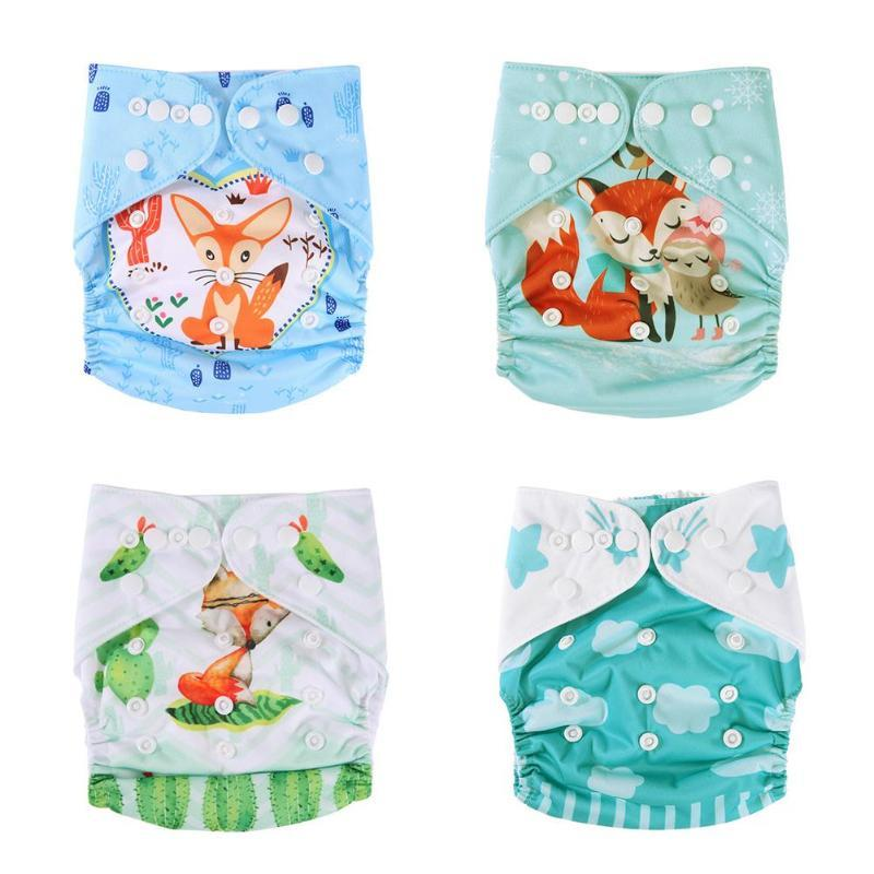 0-3T Baby Reusable Breathable Waterproof Nappies Cartoon Print Diaper Cloth