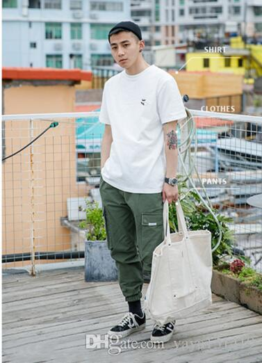 Japanese casual men s clothing 2018 men s t-shirt new ins short-sleeved  t-shirt couple Korean version of the semi-sleeve loose top