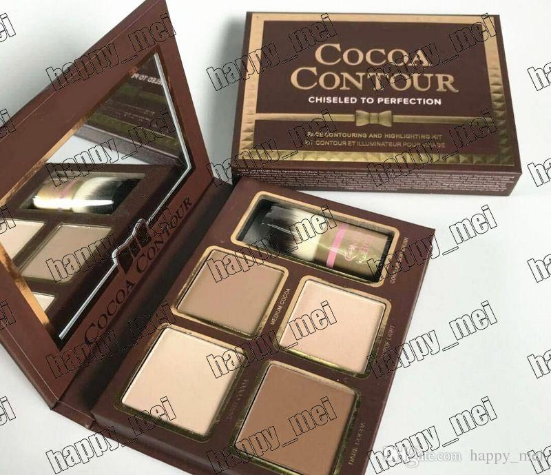 Factory Direct DHL Free Shipping New Makeup Face Cocoa Contour Chiseled To Perfection Face Contouring& Highlighting 4 Colors Powder Palette!