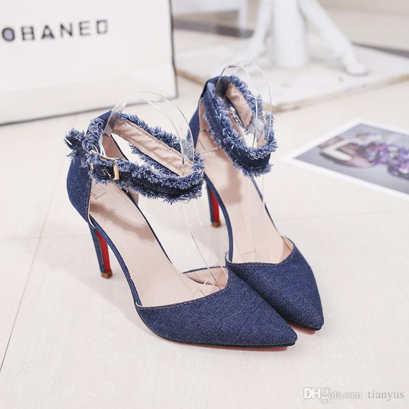d8c932b6 Sandalias de tacón alto de las mujeres zapatos del banquete de boda del  dril de algodón de la manera atractiva de las señoras zapatos cerrados ...