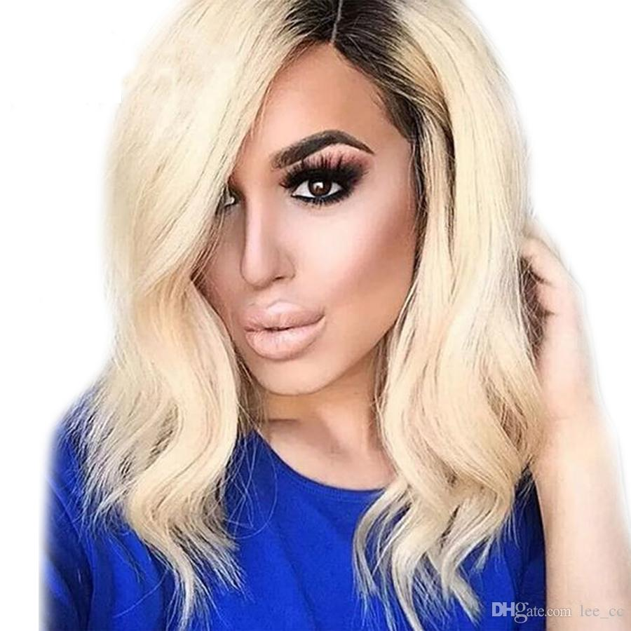 Short Human Hair Lace Front Wigs Ombre Color Peruvian Bob Remy Two Tone Hair Wig with Baby Hair