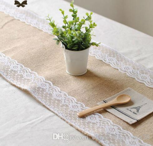 Factory Direct Vintage Burlap Lace Hessian Table Runner Natural Jute  Country Party Wedding Decoration Paper Table Cloths Paper Table Runner From  ...