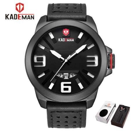 8092bee5c04 KADEMAN Sports Military Men S Watch Brand Leather Quartz Waterproof Men  Watch Clock Analog WristWatch Relogio Masculino Wrist Watches Buy Online  Unique ...