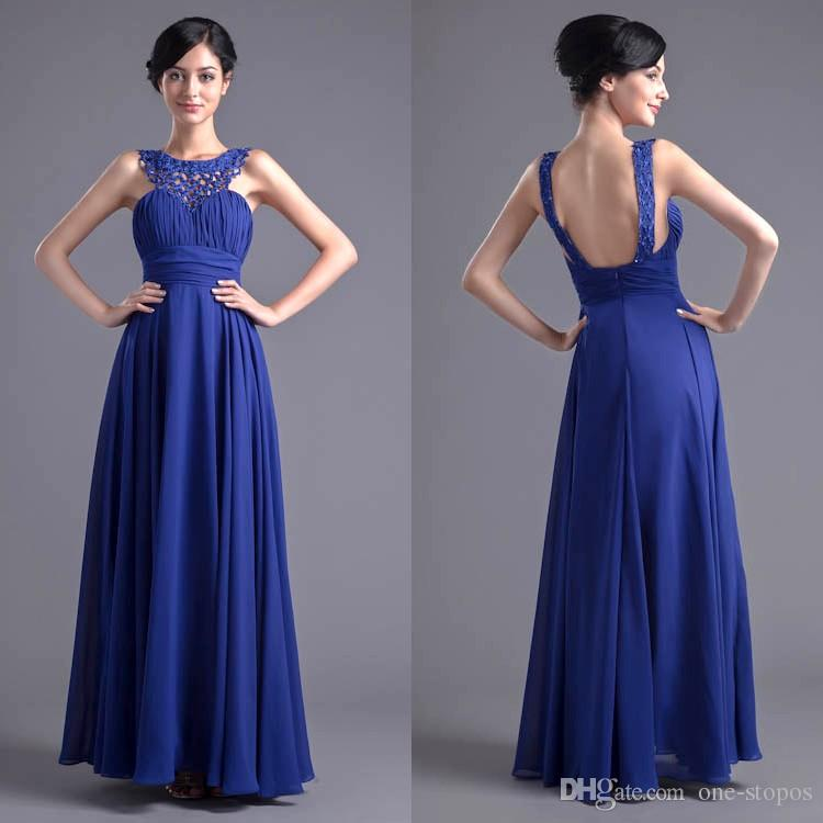 Royal Blue A Line Chiffon Long Bridesmaid Dresses Lace Neckline Sexy ... 72a804faff1b