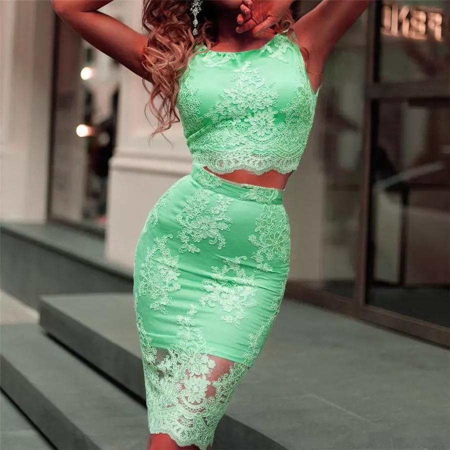 Sexy Green Lace Two Piece Homecoming Dresses Short Sheath Prom Dress Mini Short Cocktail Dresses Graduation Dresses Custom Made