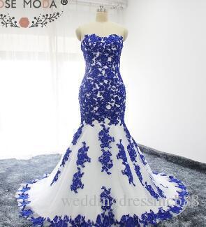 d3b2a4d987c1 Acquista Abito Da Sposa Stile Sirena In Pizzo Bianco E Blu Con Applicazioni  Ricamate A  180.91 Dal Weddingdressmcb88