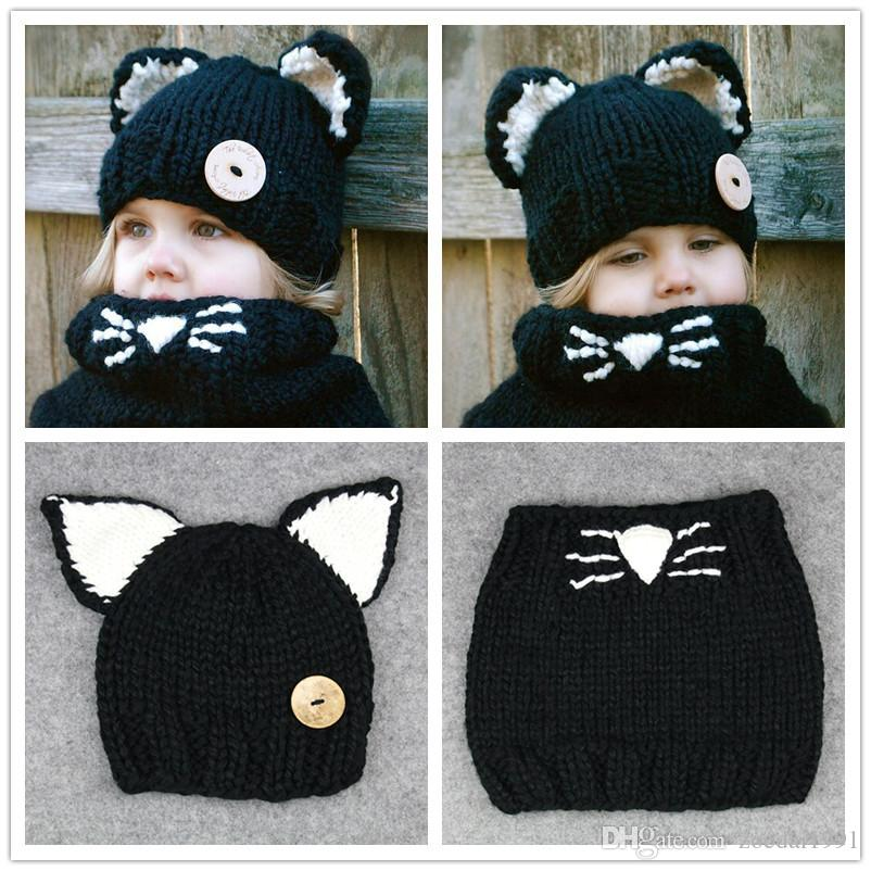 2515da7fd13 2019 New Design Baby Hats   Caps Cat Ear Fox Winter Beanie Hats Baby Kids  Windproof Hats And Scarf Handmade Knitted Baby Accessories From Zoedai1991