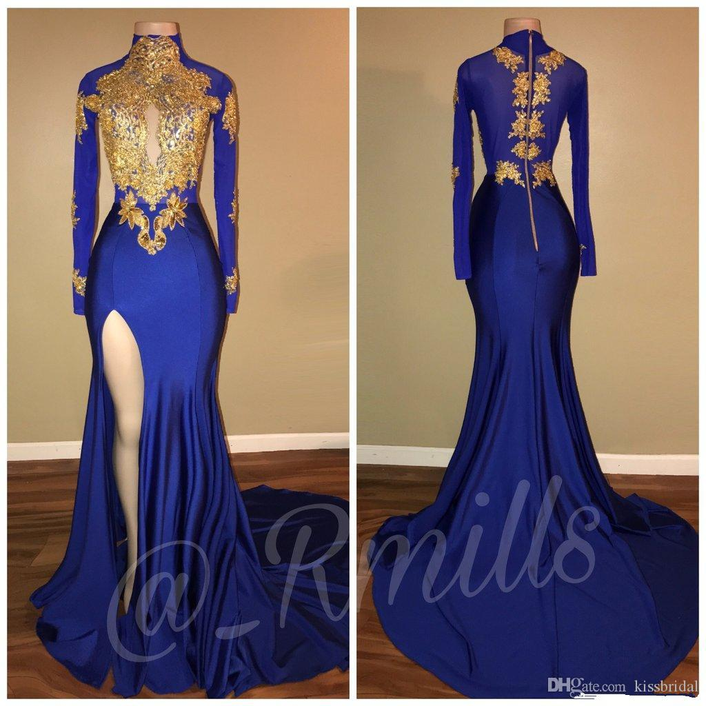 2018 Gold Lace Prom Dresses Mermaid Long Sleeves Royal Blue High Thigh Split Black Girls Evening Gowns High Collar 2K17 Girls Pageant Dresse