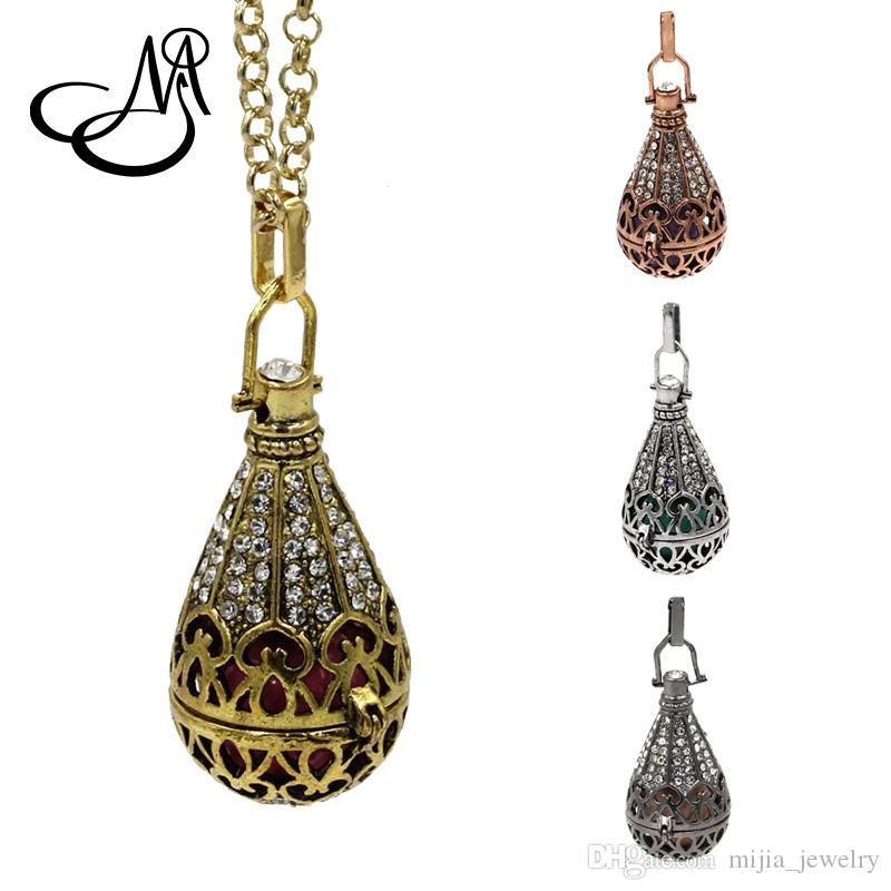 Wholesale 5set Retro Cystal Hollow Copper Pendant Mexican Musical Jingle Chime Music Pregnancy Baby Ball Necklace