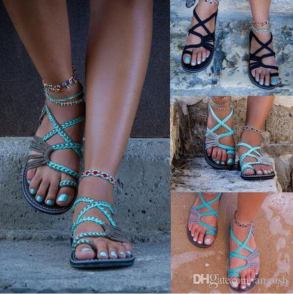 ANGUSH 2018 Verão Europeu / Americano Sand Beach Sandália Bottom Plano Mulheres Plus Size Flip Flops Chinelos Moda Oito Cor Sapatos Femininos