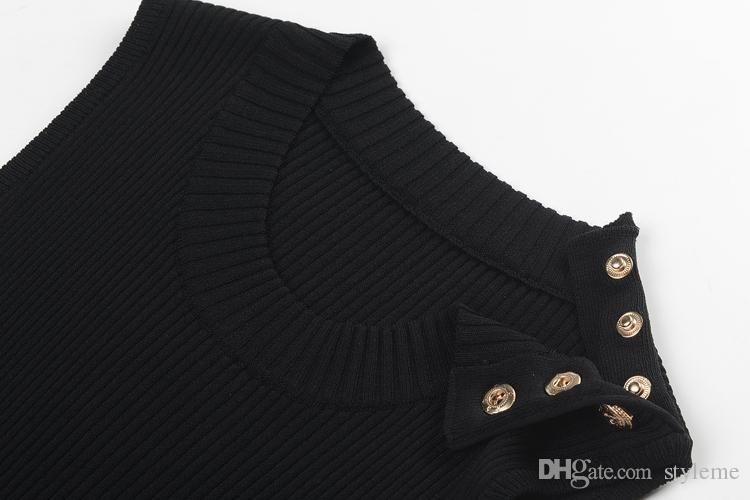 Brand Designer Women Sleeveless Dresses 2018 Spring Summer Runway Metal Lion Buttons Stretch Knitting Bodycon Black Dresses Brief Knitwear