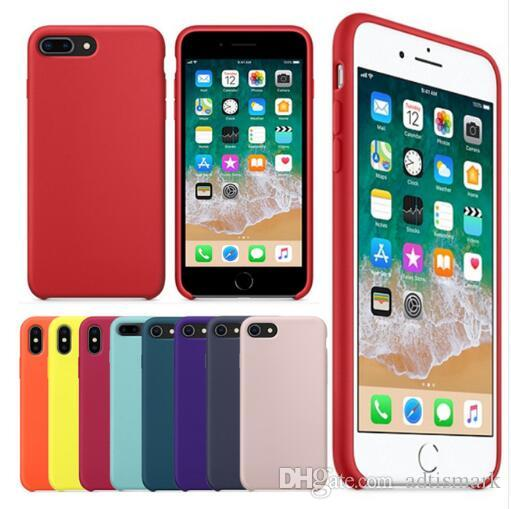 check out 29f8b 3325d Original Have LOGO Silicone Case For iPhone 7 8 Plus Phone Silicon Cover  For iphone X 6S 6 Plus For Apple Retail Box