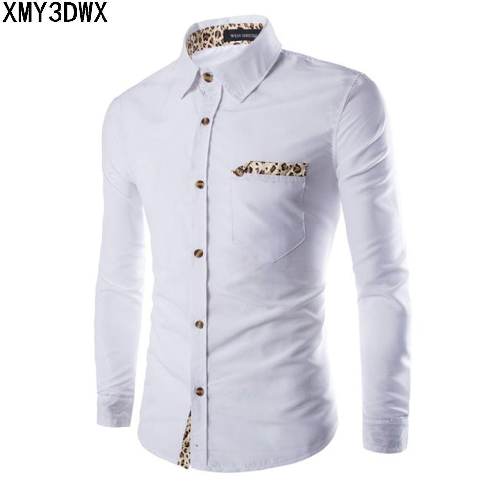 Compre Camisa De Hombre Nuevo De Manga Larga Casual Sólido Estampado De  Leopardo Cuello Blanco Negro Vestido De Hombre Ropa Slim Fit Franela  Banquete ... 04b2fd6c62749