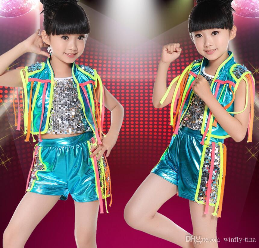 eef6b845d 2019 New Colorful Lanyard Sequin Vest Jazz Dance Split Suits ...