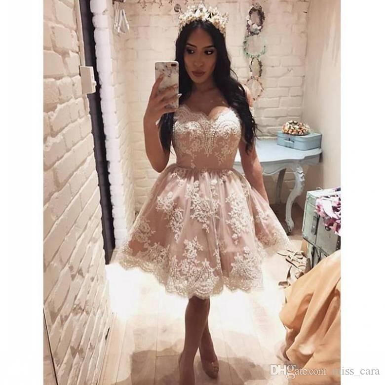9ee2d54c72f 2018 Off The Shoulder Short Homecoming Dresses Evening Wear Lace Appliques  Pearls Mini Cocktail Dresses Prom Gowns Prom Dresses Under 100 Dollars Prom  ...
