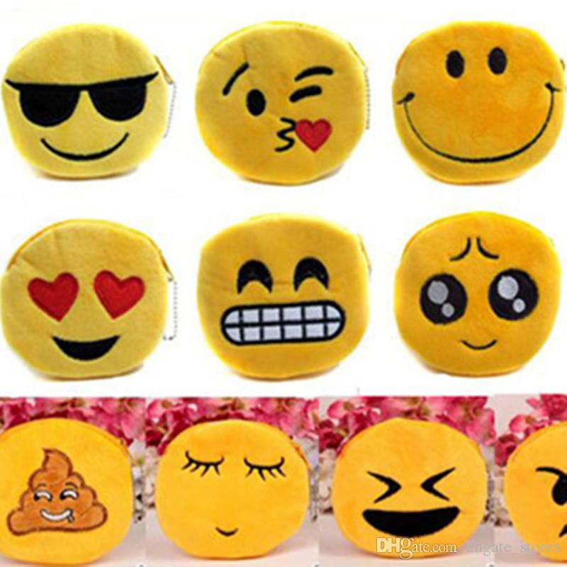 Embroidery Emoji Coin Purse Bags Kids Plush Furry QQ Expression Mini Bag  Fluffy Smiling Face Key Ring Charm Pendant 19 colors DHL FREE