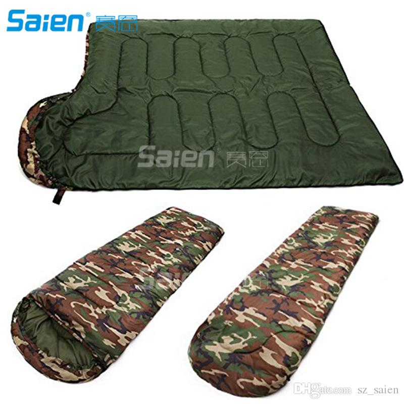 Camp Sleeping Gear Camouflage Single Person Envelope Sleeping Bag With Carrying Bag For Kids Or Adults Outdoor Hiking Camping Tools Gear