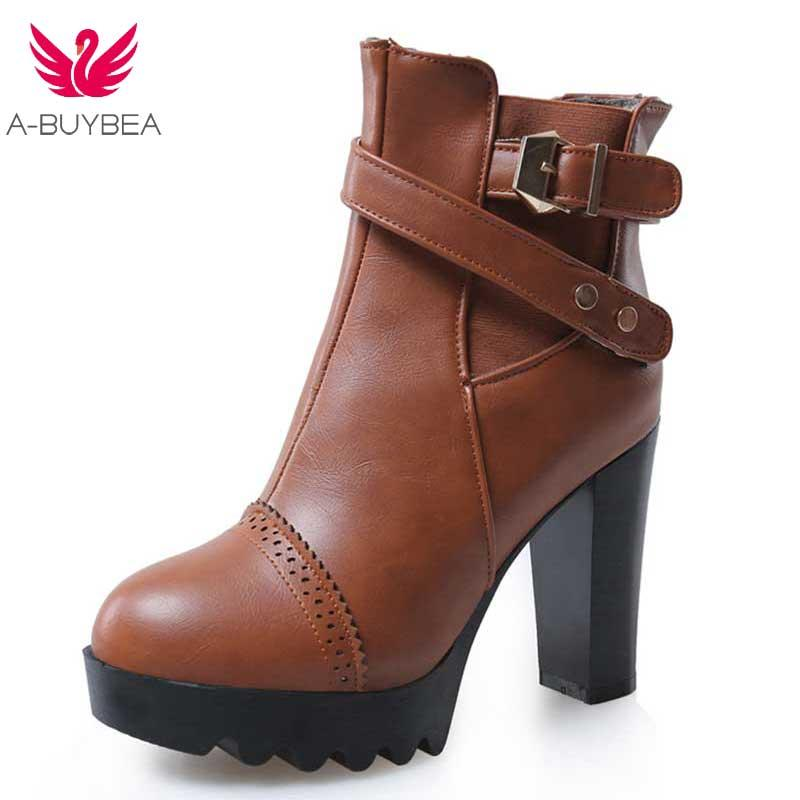 f7e64bfb415 Women Ladies Casual Wedge Super High Heels Platform Round Toe PU Vegan  Leather Ankle Boots Shoes Female Lace up Footwear Booties
