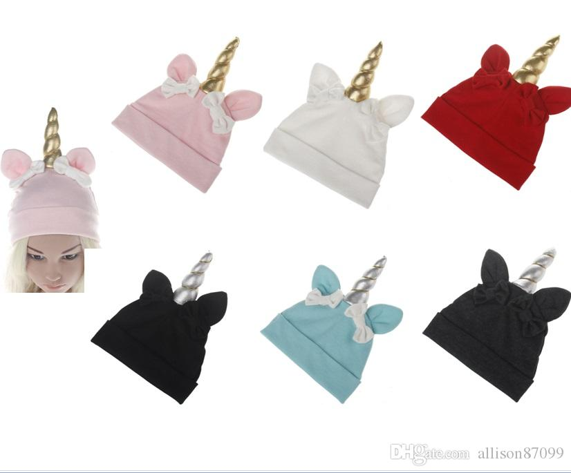 2019 Ins Cute Baby Unicorn Beanies Bows Knit Hats Maternity Spring Autumn  Winter 3months 2years 2018 New Arrival From Allison87099 c5342fb53bd