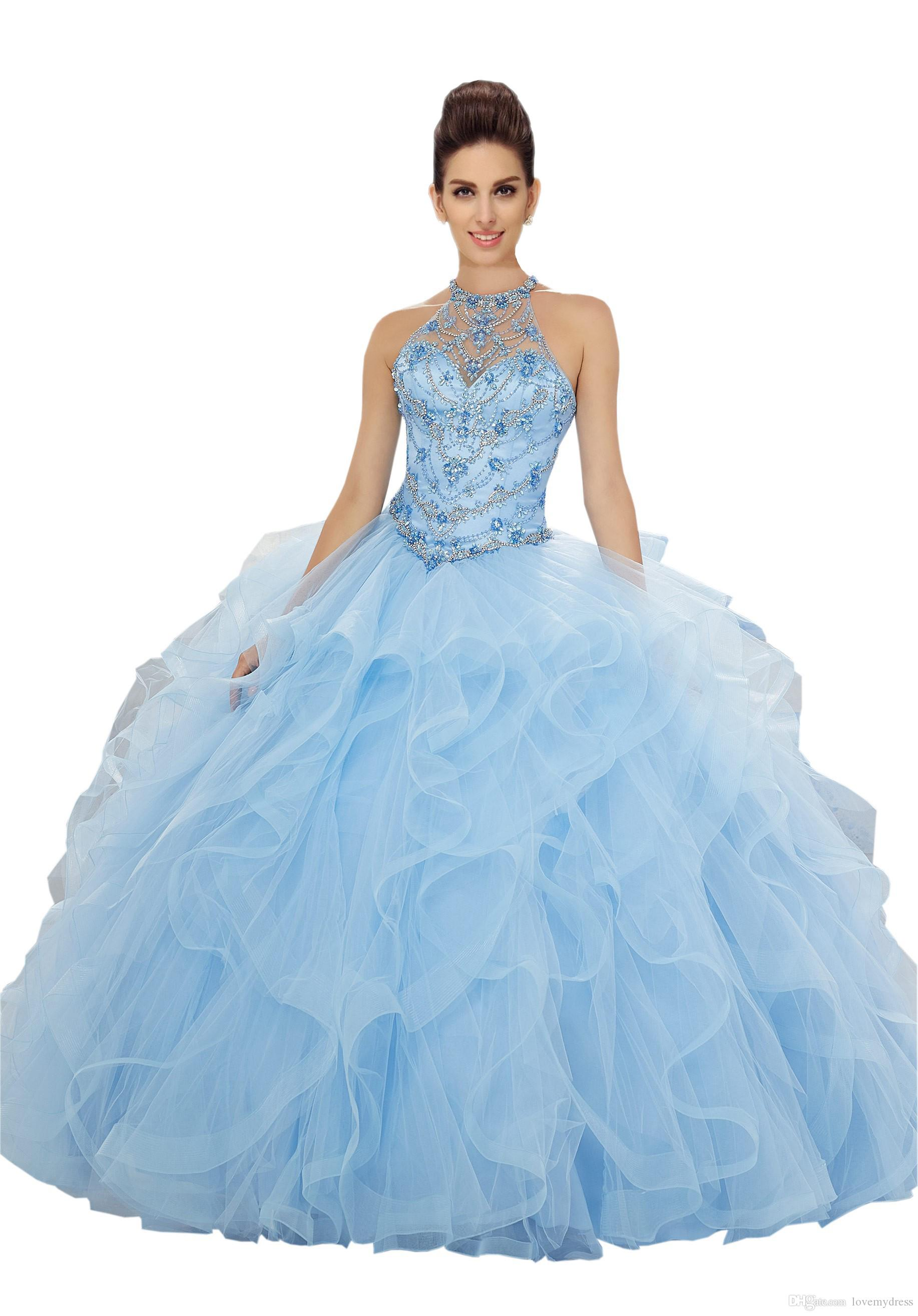 Charming Red Ruffles Quinceanera Dresses Ball Gown Halter Sheer Neck Open Back Rhinestones Crystal Sequin Tulle Prom Sweet 16 Dress Cheap