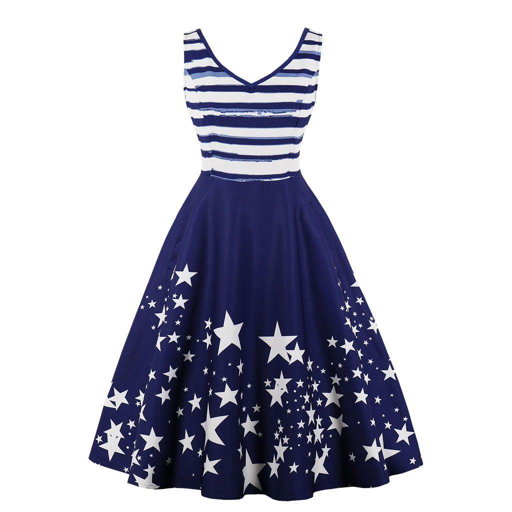 2e869ece7eb 2019 Womens 1950s 60s Vintage Stars Print Rockabilly Evening Prom Swing  Dress Plus S 4XL From Lihua1982