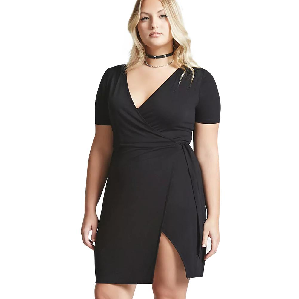 Women Plus Size Mini Dress Cross Over V Neck Short Sleeve Black ...