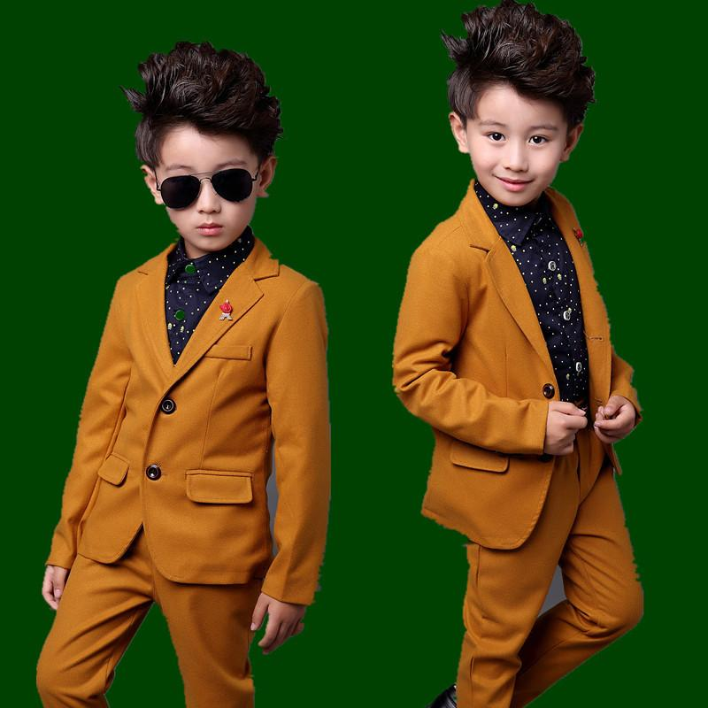 c0a30cedc86 2019 Kids Yellow Formal Wedding Suit For Boys Children Autumn Solid Blazer  Suit Boys Formal Wedding Costume From Anglestore