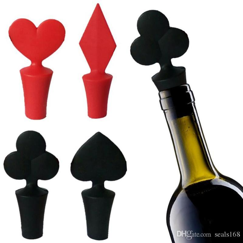 d9668234f95 2019 Mini Wine Bottle Stoppers Poker Spades Silicone Heart Plug Cork Wine  Stoppers Party Home Wine Bottle Bar Kitchen Tools Xmas Gifts HH7 1423 From  ...