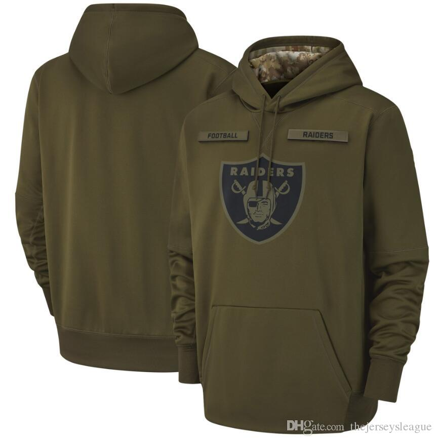buy popular d5f7f 005d1 2018 men Oakland Sweatshirt Raiders Salute to Service Sideline Therma  Performance Pullover Hoodie Olive