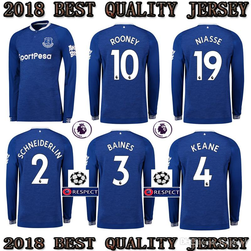2018 Top 2018 2019 Everton Long Sleeve Soccer Jersey Home Blue 18 19 Digne  Walcott Sigurdsson André Gomes Niasse Richarlison Football Shirts From  Fengbao1 27798afc4