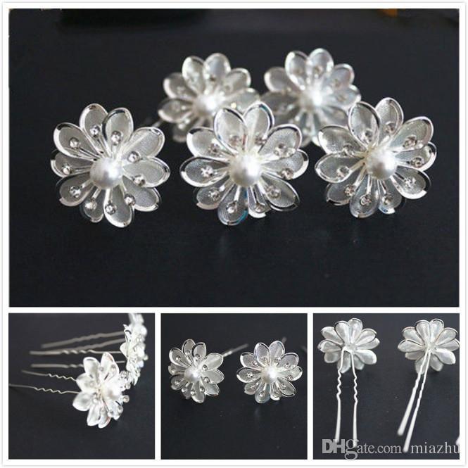 Nuovi arrivi nuziale nuziale di cristallo bianco perla fiore perni di capelli Accessori capelli