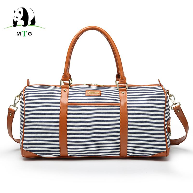 c6617cdd0559 2018 Fashion Women Travel Bag PU Leather Black White Stripes Large Capacity  Casual Waterproof Luggage Duffle Shoulder Bag Female Duffel Shoulder Bags  From ...