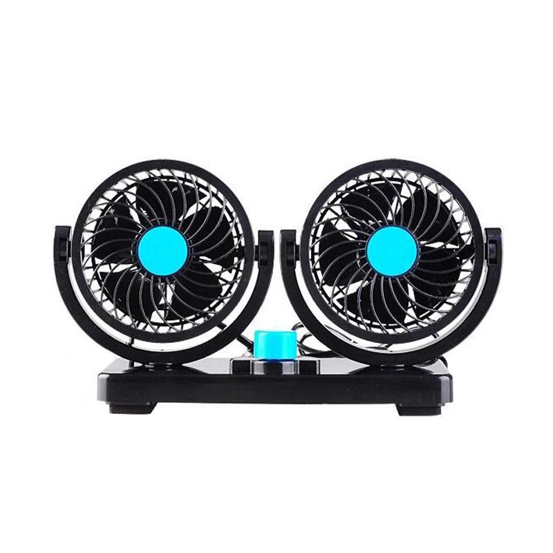 fan 12V/24V Electric Car Double Head Rotatable 2 Speed Automobile Dashboard  Cooling Fans For SUV RV Boat Auto Vehicles D