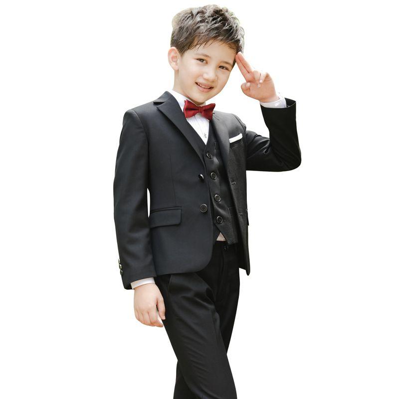 304f4f287695 2019 Boys Weddings Suits Kids Prom Suits Kids Blazers+Vest+Bow Tie+ ...