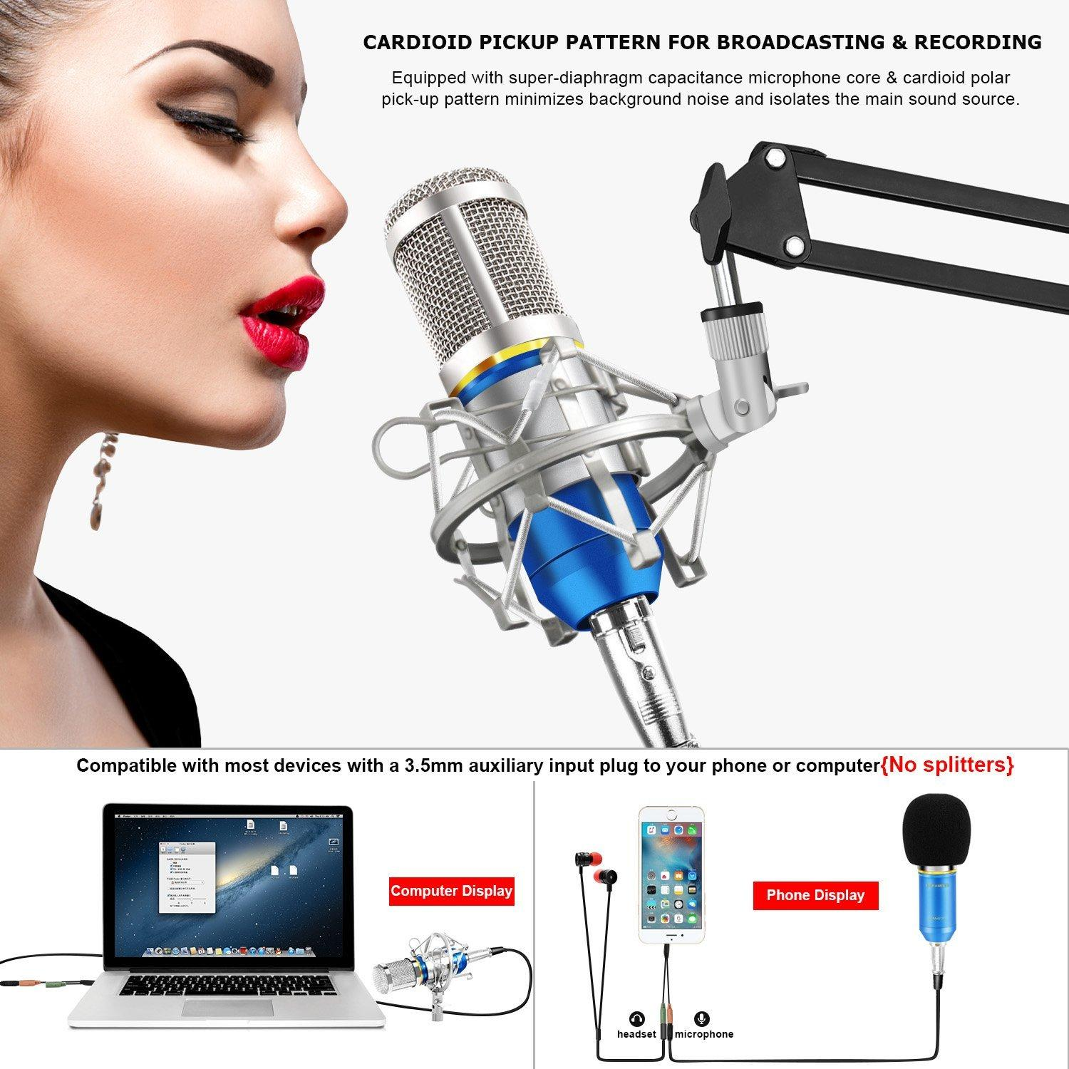 BM - 800 BM800 Dynamic Condenser Wired Microphone Mic Sound Studio for  Singing Recording Kit KTV Karaoke with Shock Mount