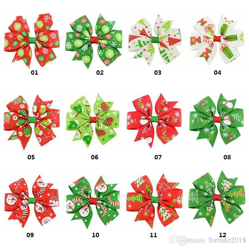12 X Christmas Bowknot Hairpin Hair Bow Clips Barrette Xmas For Kids Baby Girls