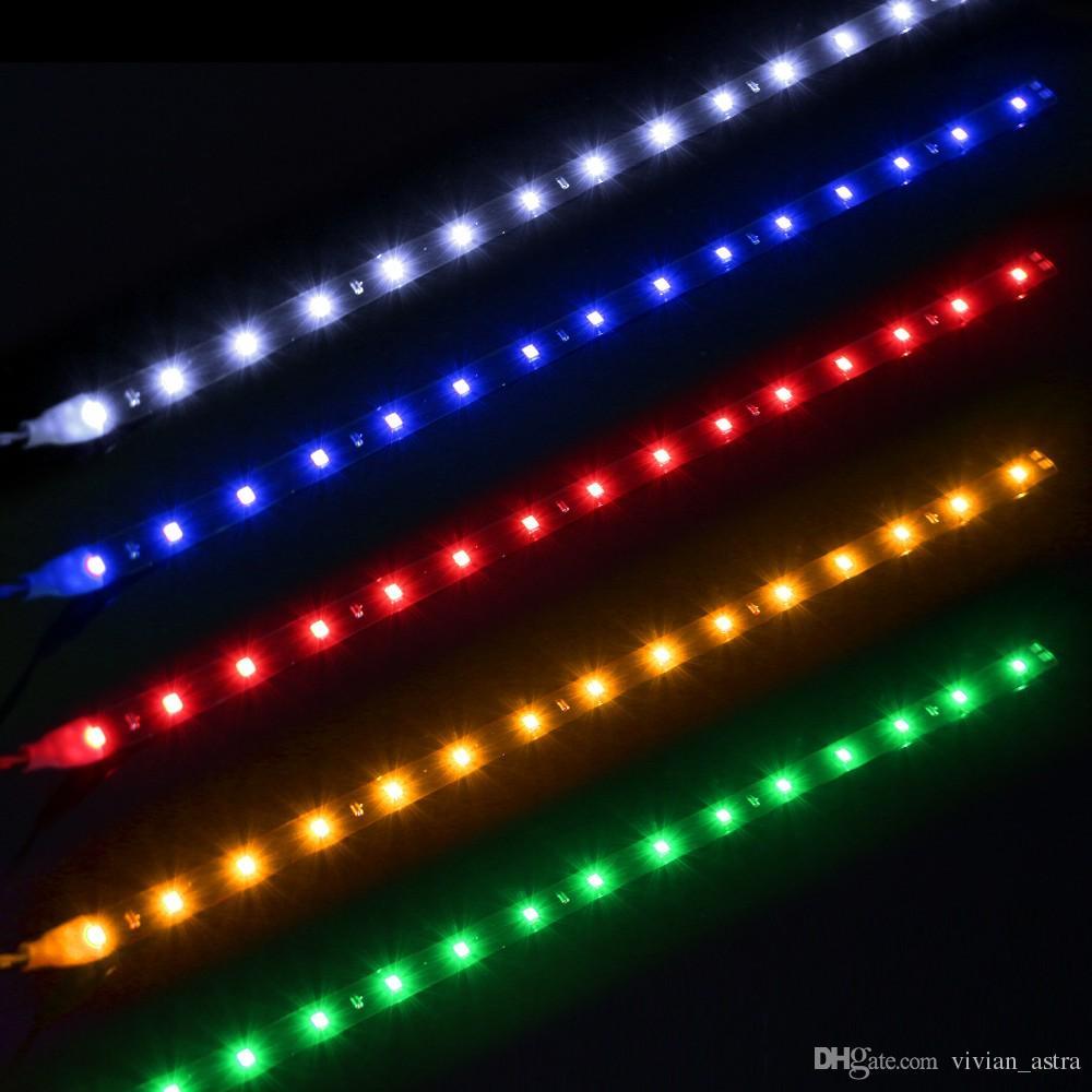 Su geçirmez Araba Oto Dekoratif Esnek LED Şerit HighPower 12 V 30 cm 15SMD Araba LED Gündüz Çalışan Işık Araba LED Şerit Işık DRL