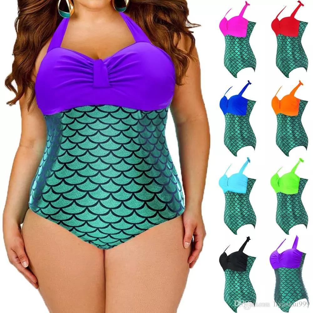 b31d6cbb54f71 2019 Women Plus Size Bodysuit Swimsuit Bathing Suit For Mermaid Fish Scale  Bikini Swimsuit Summer One Piece Beach Swimwear L 3XL From Liyankui999, ...