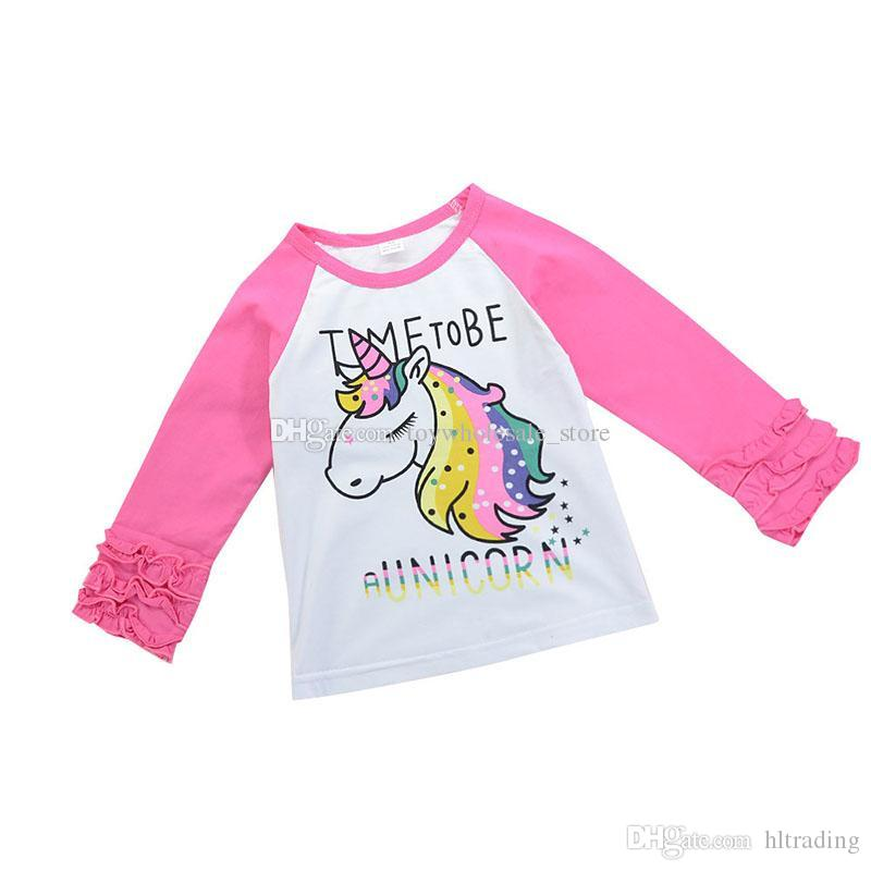 6cfa81cb5b876 2019 Baby Girls Unicorn Tees Children Animal Print T Shirts Cartoon Ruffle  Tops 2018 New Boutique Kids Clothing C3707 From Hltrading